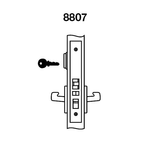 CRCN8807FL-618 Yale 8800FL Series Single Cylinder Mortise Entrance Locks with Carmel Lever in Bright Nickel