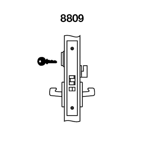 MOCN8809FL-605 Yale 8800FL Series Single Cylinder Mortise Classroom w/ Thumbturn Locks with Monroe Lever in Bright Brass