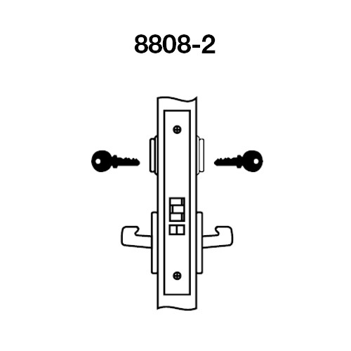 MOCN8808-2FL-629 Yale 8800FL Series Double Cylinder Mortise Classroom Locks with Monroe Lever in Bright Stainless Steel