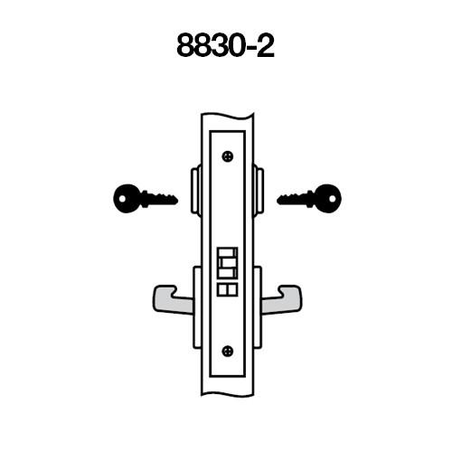 MOCN8830-2FL-606 Yale 8800FL Series Double Cylinder Mortise Asylum Locks with Monroe Lever in Satin Brass