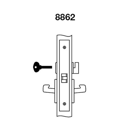 MOCN8862FL-618 Yale 8800FL Series Non-Keyed Mortise Bathroom Locks with Monroe Lever in Bright Nickel
