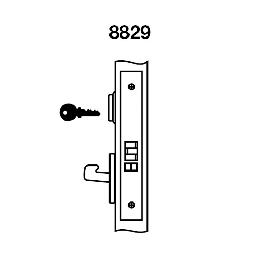 PBCN8829FL-629 Yale 8800FL Series Single Cylinder Mortise Closet Locks with Pacific Beach Lever in Bright Stainless Steel