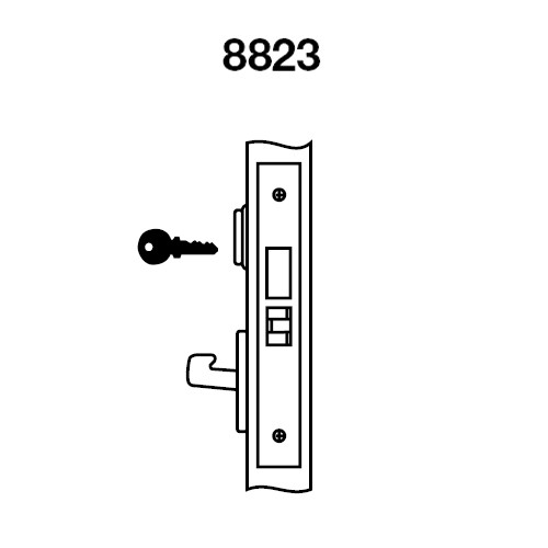 PBCN8823FL-629 Yale 8800FL Series Single Cylinder with Deadbolt Mortise Storeroom Lock with Indicator with Pacific Beach Lever in Bright Stainless Steel