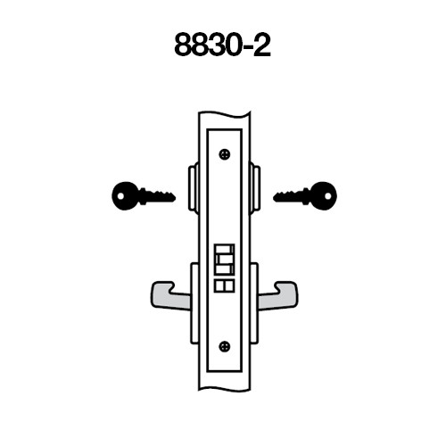 PBCN8830-2FL-618 Yale 8800FL Series Double Cylinder Mortise Asylum Locks with Pacific Beach Lever in Bright Nickel