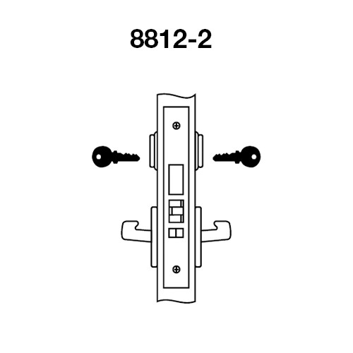 PBCN8812-2FL-606 Yale 8800FL Series Double Cylinder Mortise Classroom Security Deadbolt Locks with Pacific Beach Lever in Satin Brass