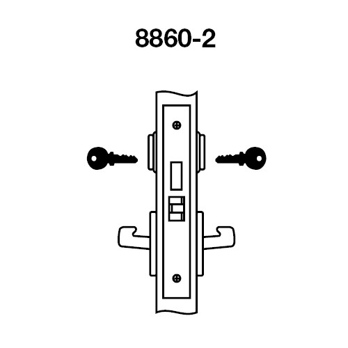 JNCN8860-2FL-606 Yale 8800FL Series Double Cylinder with Deadbolt Mortise Entrance or Storeroom Lock with Indicator with Jefferson Lever in Satin Brass