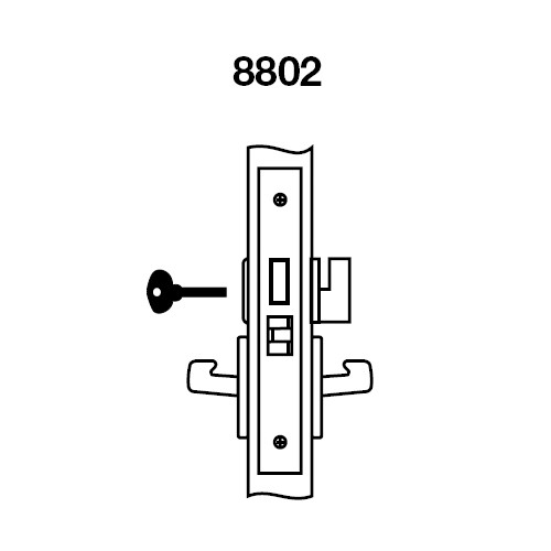 JNCN8802FL-625 Yale 8800FL Series Non-Keyed Mortise Privacy Locks with Jefferson Lever in Bright Chrome