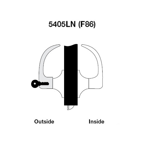 AU5405LN-605 Yale 5400LN Series Single Cylinder Storeroom or Closet Cylindrical Lock with Augusta Lever in Bright Brass