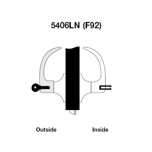 AU5406LN-605 Yale 5400LN Series Single Cylinder Service Station Cylindrical Lock with Augusta Lever in Bright Brass