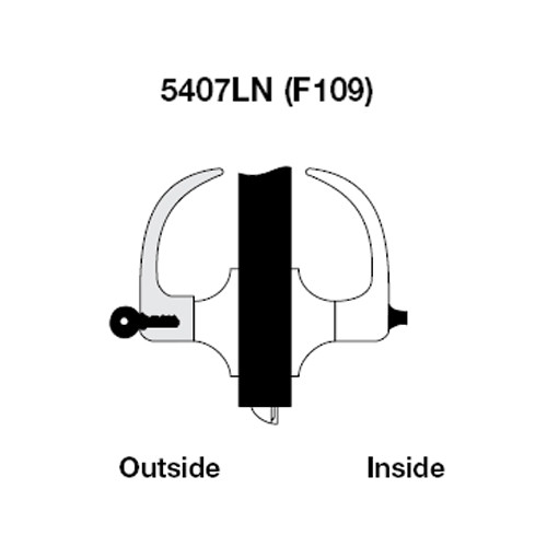 AU5407LN-625 Yale 5400LN Series Single Cylinder Entry Cylindrical Lock with Augusta Lever in Bright Chrome