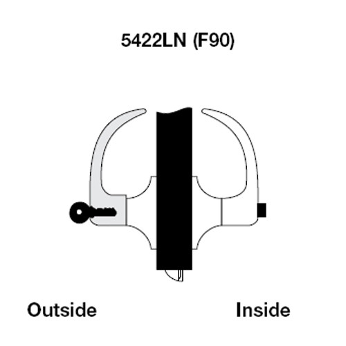 AU5422LN-626 Yale 5400LN Series Single Cylinder Corridor Cylindrical Lock with Augusta Lever in Satin Chrome