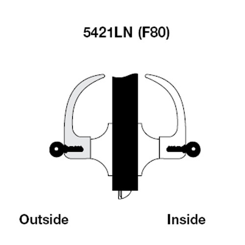 AU5421LN-606 Yale 5400LN Series Double Cylinder Communicating Cylindrical Lock with Augusta Lever in Satin Brass