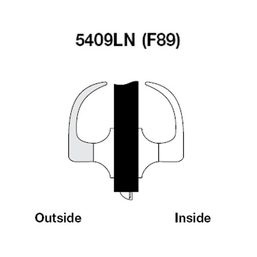 AU5409LN-605 Yale 5400LN Series Non-Keyed Exit Latch Cylindrical Locks with Augusta Lever in Bright Brass