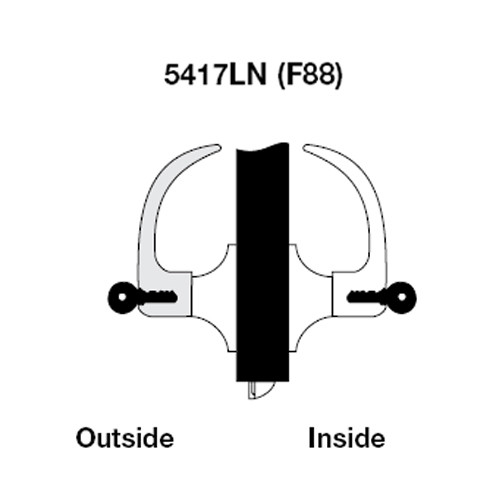 PB5417LN-606 Yale 5400LN Series Double Cylinder Apartment or Exit Cylindrical Lock with Pacific Beach Lever in Satin Brass