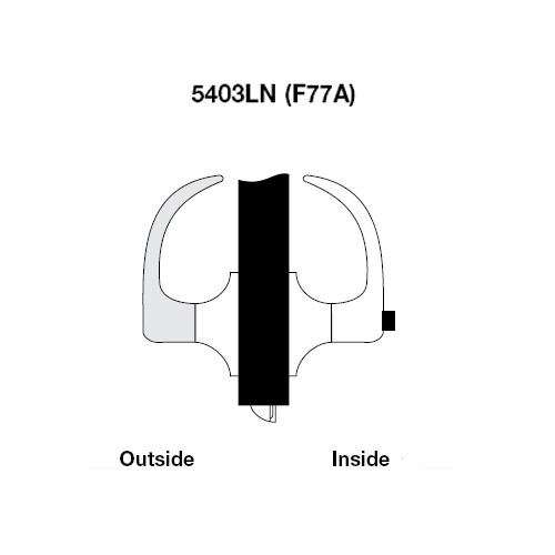 PB5403LN-605 Yale 5400LN Series Non-Keyed Patio or Privacy Cylindrical Locks with Pacific Beach Lever in Bright Brass