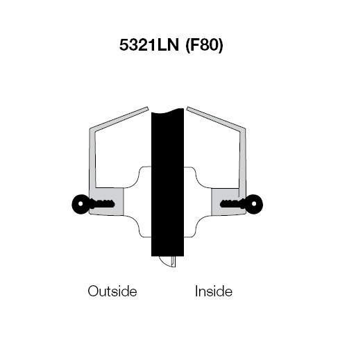 PB5321LN-605 Yale 5300LN Series Double Cylinder Communicating Cylindrical Lock with Pacific Beach Lever in Bright Brass