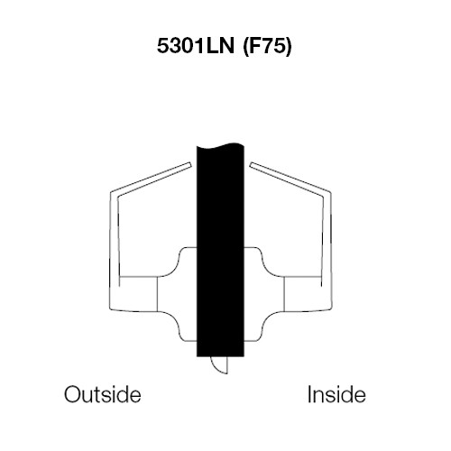 PB5301LN-605 Yale 5300LN Series Non-Keyed Passage or Closet Latchset Cylindrical Locks with Pacific Beach Lever in Bright Brass