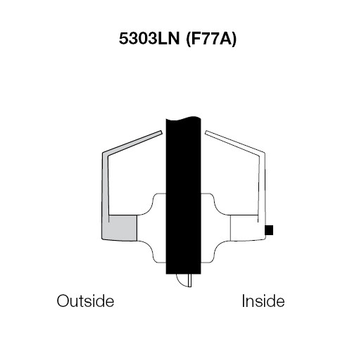 PB5303LN-625 Yale 5300LN Series Non-Keyed Patio or Privacy Cylindrical Locks with Pacific Beach Lever in Bright Chrome