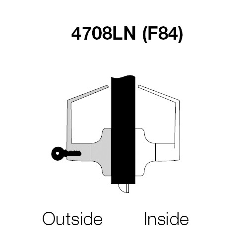 AU4708LN-625 Yale 4700LN Series Single Cylinder Classroom Cylindrical Lock with Augusta Lever in Bright Chrome