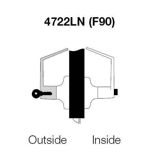 AU4722LN-626 Yale 4700LN Series Single Cylinder Corridor Cylindrical Lock with Augusta Lever in Satin Chrome