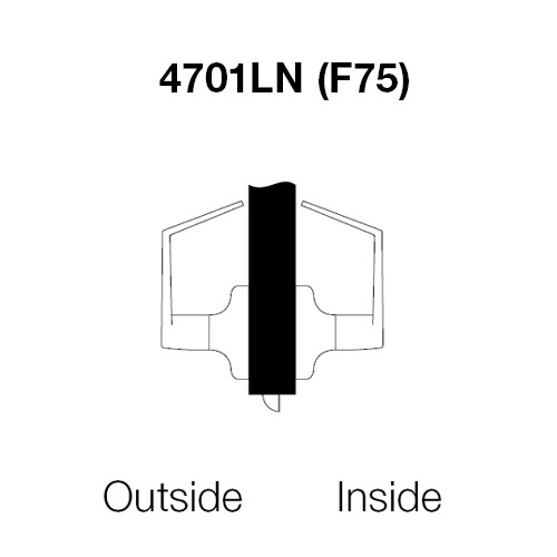 AU4701LN-625 Yale 4700LN Series Non Keyed Passage or Closet Cylindrical Lock with Augusta Lever in Bright Chrome