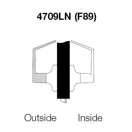 AU4709LN-605 Yale 4700LN Series Non Keyed Exit Latch Cylindrical Lock with Augusta Lever in Bright Brass