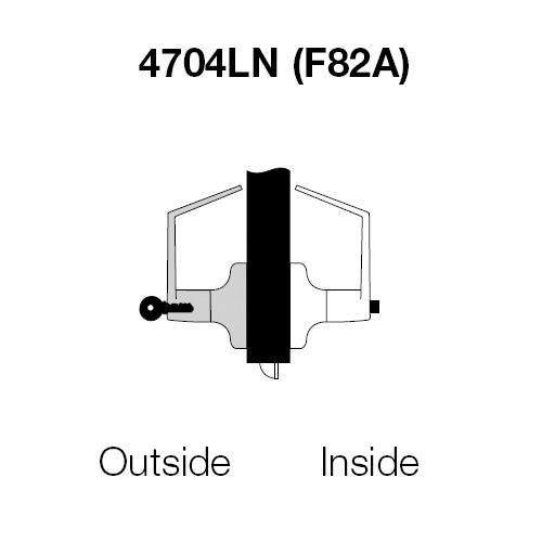 PB4704LN-606 Yale 4700LN Series Single Cylinder Entry Cylindrical Lock with Pacific Beach Lever in Satin Brass
