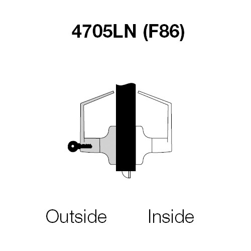 PB4705LN-605 Yale 4700LN Series Single Cylinder Storeroom or Closet Cylindrical Lock with Pacific Beach Lever in Bright Brass