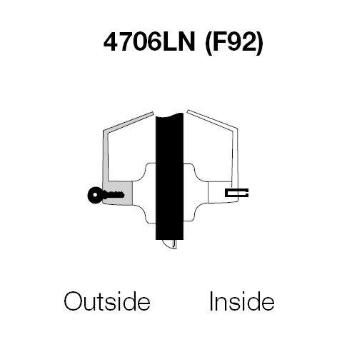 PB4706LN-605 Yale 4700LN Series Single Cylinder Service Station Cylindrical Lock with Pacific Beach Lever in Bright Brass