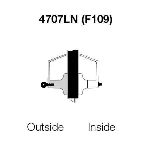 PB4707LN-606 Yale 4700LN Series Single Cylinder Entry Cylindrical Lock with Pacific Beach Lever in Satin Brass