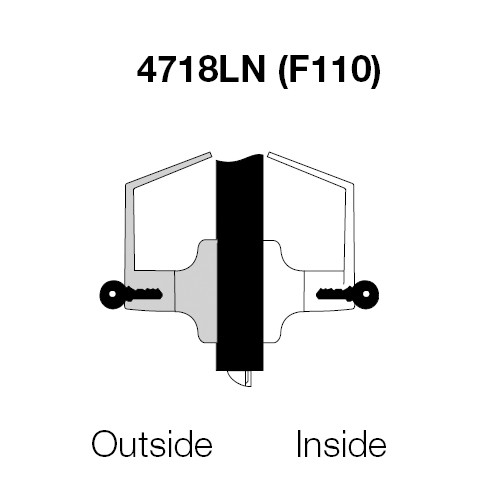 PB4718LN-605 Yale 4700LN Series Double Cylinder Intruder Classroom Security Cylindrical Lock with Pacific Beach Lever in Bright Brass
