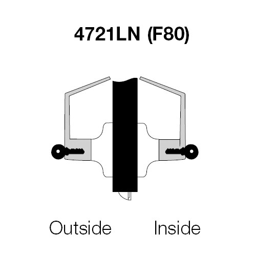PB4721LN-625 Yale 4700LN Series Double Cylinder Communicating Cylindrical Lock with Pacific Beach Lever in Bright Chrome