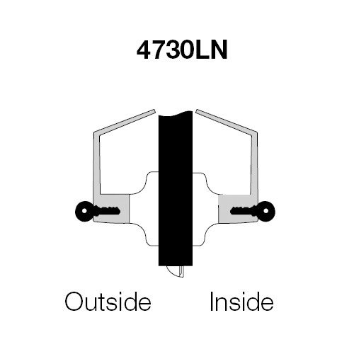 PB4730LN-605 Yale 4700LN Series Double Cylinder Utility or Institutional Cylindrical Lock with Pacific Beach Lever in Bright Brass