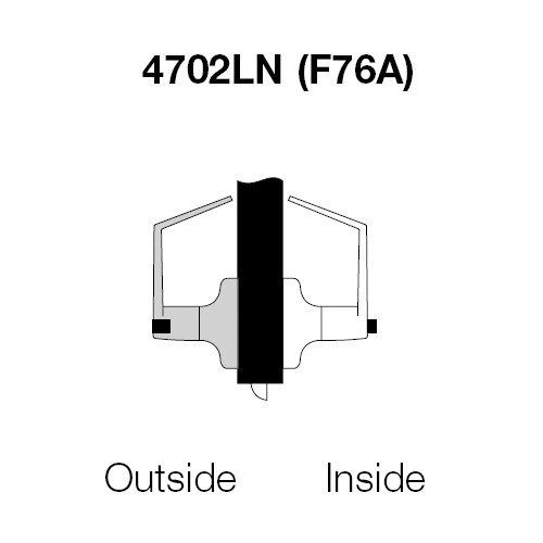 PB4702LN-606 Yale 4700LN Series Non Keyed Privacy Bedroom or Bath Cylindrical Lock with Pacific Beach Lever in Satin Brass