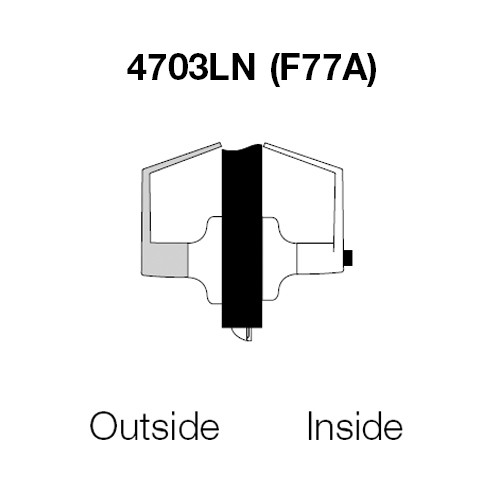 PB4703LN-605 Yale 4700LN Series Non Keyed Patio or Privacy Cylindrical Lock with Pacific Beach Lever in Bright Brass