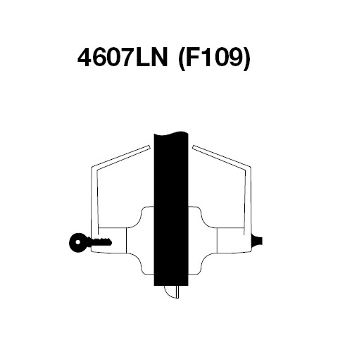 AU4607LN-606 Yale 4600LN Series Single Cylinder Entry Cylindrical Lock with Augusta Lever in Satin Brass