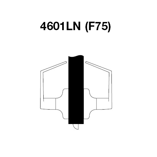 AU4601LN-625 Yale 4600LN Series Non Keyed Passage or Closet Cylindrical Lock with Augusta Lever in Bright Chrome