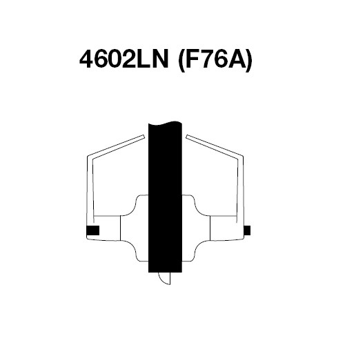 AU4602LN-606 Yale 4600LN Series Non Keyed Privacy Bedroom or Bath Cylindrical Lock with Augusta Lever in Satin Brass