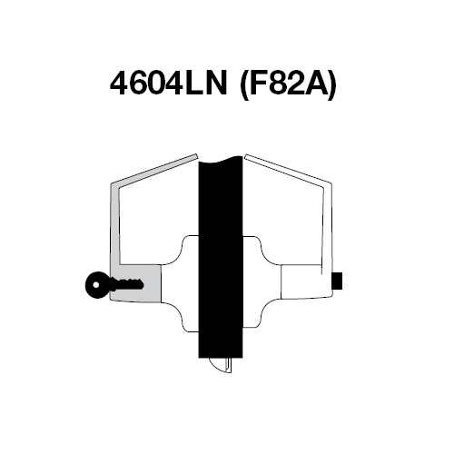 PB4604LN-606 Yale 4600LN Series Single Cylinder Entry Cylindrical Lock with Pacific Beach Lever in Satin Brass