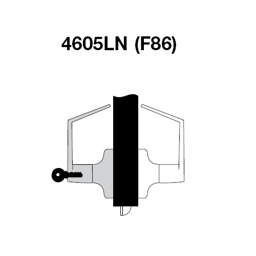 PB4605LN-605 Yale 4600LN Series Single Cylinder Storeroom or Closet Cylindrical Lock with Pacific Beach Lever in Bright Brass