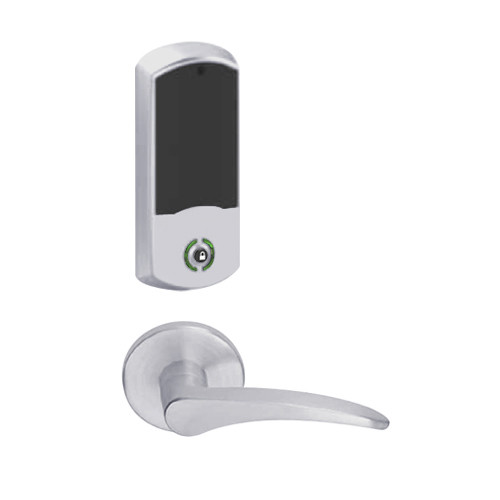 LEMB-GRW-P-12-626-00A-LH Schlage Privacy/Office Wireless Greenwich Mortise Lock with Push Button & LED Indicator and 12 Lever in Satin Chrome