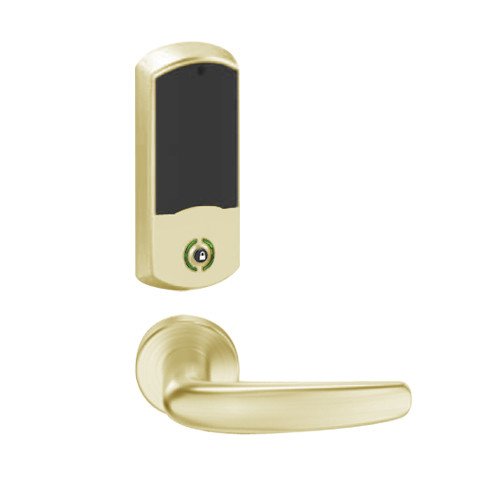 LEMB-GRW-L-07-606-00C Schlage Less Cylinder Privacy/Office Wireless Greenwich Mortise Lock with Push Button & LED Indicator and Athens Lever in Satin Brass