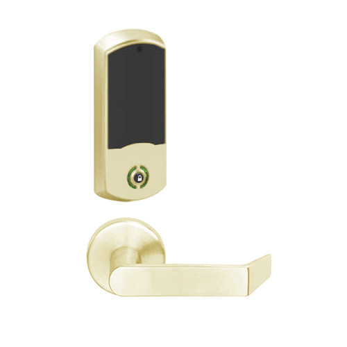LEMB-GRW-L-06-606-00A Schlage Less Cylinder Privacy/Office Wireless Greenwich Mortise Lock with Push Button & LED Indicator and Rhodes Lever in Satin Brass