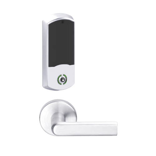 LEMB-GRW-L-01-625-00B Schlage Less Cylinder Privacy/Office Wireless Greenwich Mortise Lock with Push Button & LED Indicator and 01 Lever in Bright Chrome