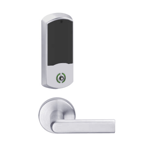 LEMB-GRW-L-01-626-00B Schlage Less Cylinder Privacy/Office Wireless Greenwich Mortise Lock with Push Button & LED Indicator and 01 Lever in Satin Chrome