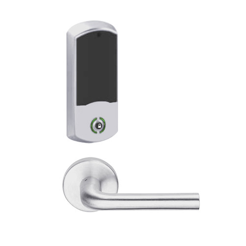 LEMB-GRW-L-02-626-00A Schlage Less Cylinder Privacy/Office Wireless Greenwich Mortise Lock with Push Button & LED Indicator and 02 Lever in Satin Chrome
