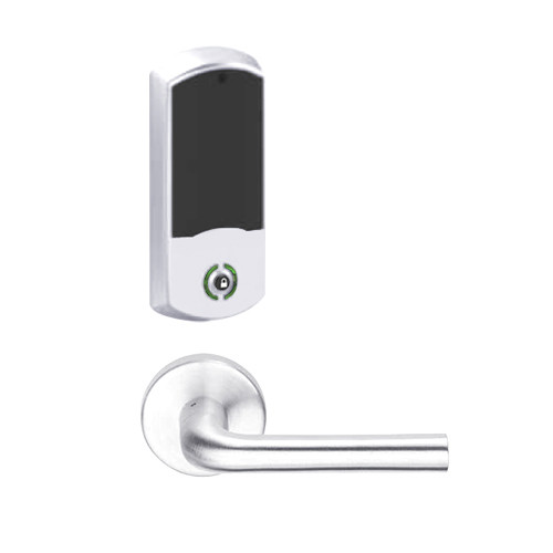 LEMB-GRW-L-02-625-00B Schlage Less Cylinder Privacy/Office Wireless Greenwich Mortise Lock with Push Button & LED Indicator and 02 Lever in Bright Chrome