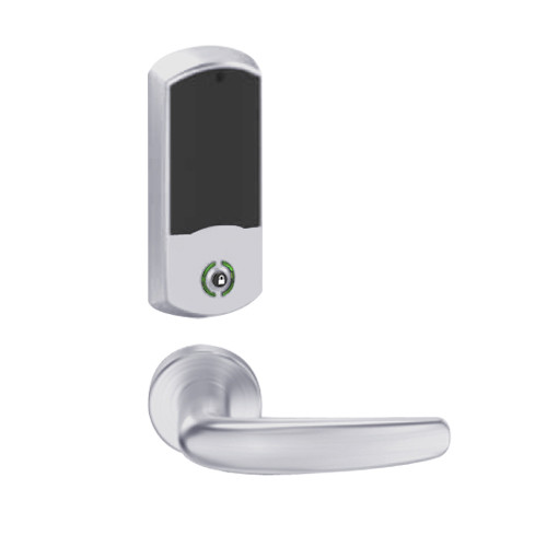 LEMB-GRW-J-07-626-00A Schlage Privacy/Office Wireless Greenwich Mortise Lock with Push Button & LED Indicator and Athens Lever Prepped for FSIC in Satin Chrome