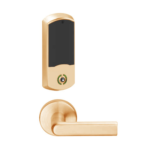 LEMB-GRW-J-01-612-00B Schlage Privacy/Office Wireless Greenwich Mortise Lock with Push Button & LED Indicator and 01 Lever Prepped for FSIC in Satin Bronze