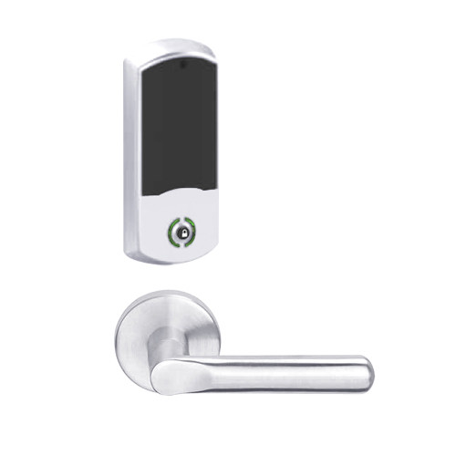 LEMB-GRW-J-18-625-00A Schlage Privacy/Office Wireless Greenwich Mortise Lock with LED Indicator and 18 Lever Prepped for FSIC in Bright Chrome